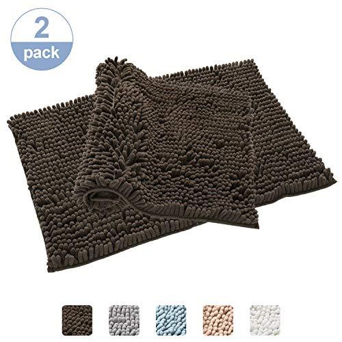 Chenille-2 Stück (Badezimmerteppich, Rutschfest, weich, saugfähig, zottelig, Chenille, extraweich, für Duschzimmer, maschinenwaschbar, 50,8 x 81,3 cm, 2 Stück braun)