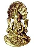 in metallo in ottone il Giainismo Signore Parshvanath Statua in fine lavoro di intaglio da Bharat Haat BH00172