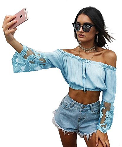 alaix-womens-summer-lace-sleeve-chiffon-blouse-off-shoulder-crop-tops-casual-t-shirts-blue-s