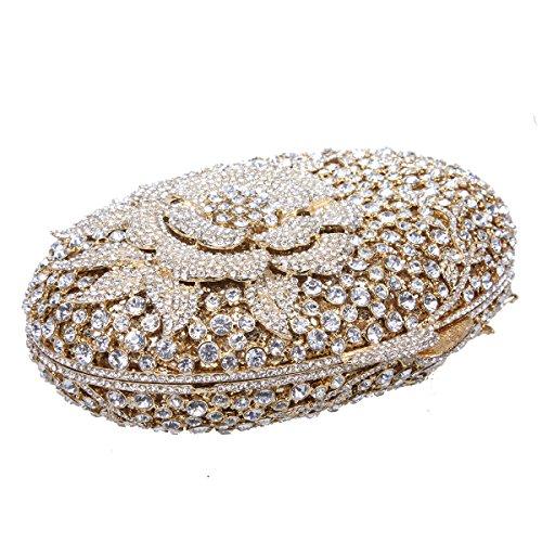 Bonjanvye Glitter Flower Clutch Purses Rhinestones and Handbags for Girls Red Gold