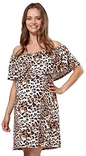 HAPPY MAMA. Mujer Vestido en Capas Volante Premamá Lactancia Cuello Bardot. 624p (Leopardo De Brown, 36-38, S)