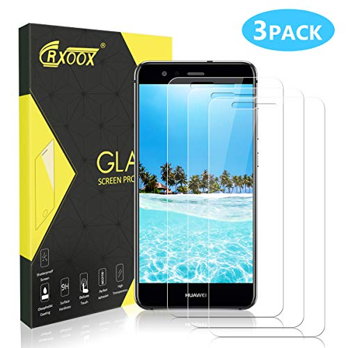 CRXOOX Panzerglas Displayschutzfolie für Huawei P10 Lite, [3 Stück] 2.5D Kanten, 9H Härte Panzerglas Schutzfolie, Anti-Kratzen, Anti-Fingerabdruck, Anti-Öl, Anti-Bläschenm, 0.33mm