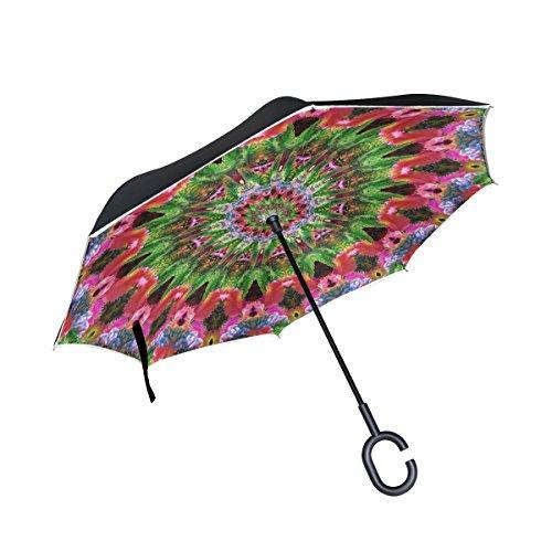 TIZORAX Hippie Mandala Kaleidoscopio Psicodélico Invertido Doble Capa Recta Paraguas Inside-out Reversible Paraguas con Mango en Forma de C para Lluvia Sol Coche