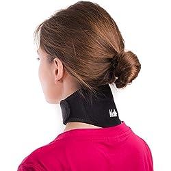 Faja para aliviar el dolor de cuello por Mello -Chronic con una abrazadera suave para la rigidez del cuello Collar de Soporte Cervical – Imán para la Salud Terapia física para Migrañas, Dolores de cabeza – Viaje cómodamente por aire o en carro.