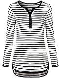 Jusfitsu Damen Streifen Langarmshirt V-Ausschnitt Tunika Basic Casual T-Shirt Obertail Weiß S