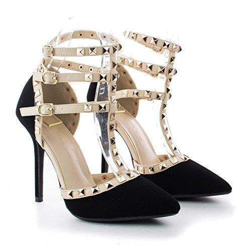 Arc-en-ciel womenâ s Schuhe verzierte Schnalle High Heel Sandale Schwarz2