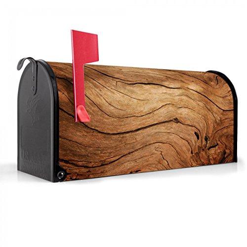 BANJADO US Mailbox | Amerikanischer Briefkasten 51x22x17cm | Letterbox Stahl schwarz | mit Motiv Trockenes Holz, Briefkasten:mit schwarzem Standfuß