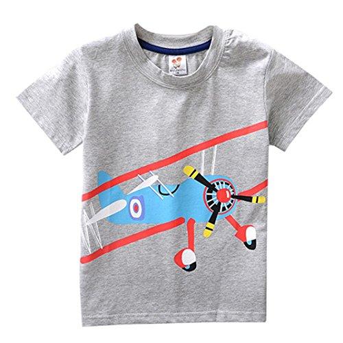 , 2-8 Jahre Säugling Jungen Mädchen Karikatur Flugzeug Kurzarm Top Kostüm (Grau, 6 Jahre) (Jungen Flugzeug Kostüm)