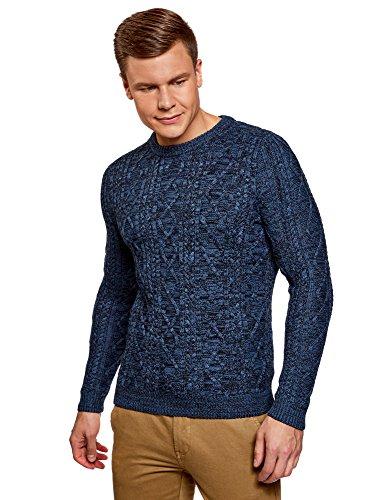 oodji Ultra Hombre Jersey de Punto Texturizado con Cuello Redondo, Azul, ES 52-54 / L