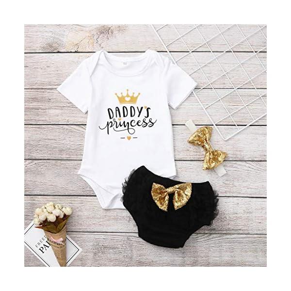 Ropa Bebe Niña Verano Fossen - 3PC/Conjuntos - Bodys de ''Daddy'S Princess '' + Pantalones Cortos de Tutu + Banda de… 2
