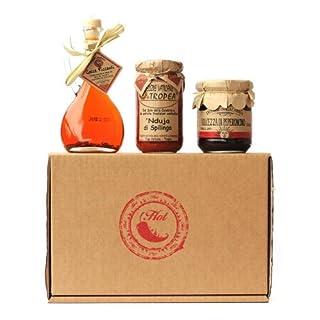 SCHARF & WÜRZIG ESSKORBE n°1 (CHILÖL , NDUJA , CHILI-MARMELADE ) Gourmet Geschenkkorb aus Italien - Italienische Spezialitäten und Feinkost - Premium Präsentkörb
