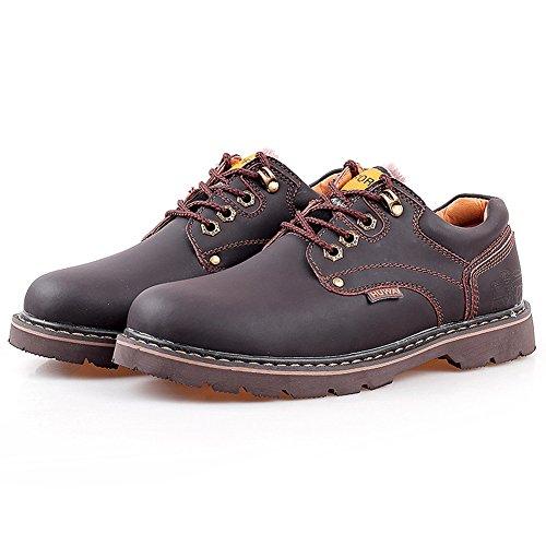 Rismart Hommes Cuir Véritable Chaussures à Lacets Industrie Chaussures de Travail 8566 Café-fourrure