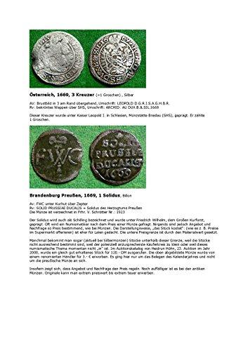 Kalenderblatt zum Jahr 1669: Zu Münzpreisen (Drei Kreuzer Österreichs und  ein Solidus von Brandenburg-Preußen des Jahres 1669)