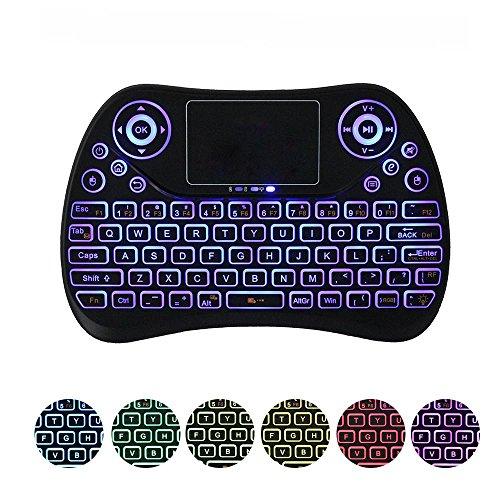 teepao Aktualisiert 2018, Rainbow Hintergrundbeleuchtung Mini Wireless Bluetooth Tastatur mit Touchpad Maus wiederaufladbar Combo, 7Farbe Hintergrundbeleuchtung Mechanische Hand-Tastatur für iPad, Handy, Notebook, Smart TV