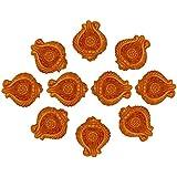 Sharma Gifts Handmade Earthen Clay Terracotta Traditional Decorative Deepawali Diya Diwali Diya Oil Lamps For Pooja Diwali Deepak Fancy Diya - Set Of 10