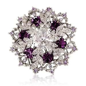 Purple Amethyst Crystals Swarovski Elements 14K Gold Silver Tone Diamante Snowflake Brooch With Gold Gift Box