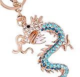 Zabrinay Chinesischer Zodiac Dragon Schlüsselanhänger Legierung Schlüsselanhänger Handtasche Tasche Auto Schlüssel Anhänger, blau, 16.5cm