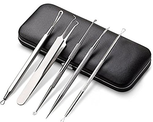 Foolzy Stainless Steel Anti-Slid Handle Blackhead Remover Tools Kit with Case, Pack of 5