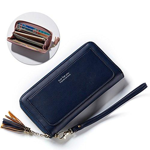 Vandot da donna portafoglio in pelle borsa portamonete borsello borsellino borsetta lungo floreale con tasca per carte di credito, tasca con cerniera,grande capacità wallet cover custodia per 5.5