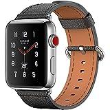 Fnova Apple Watch Armband 42mm Uhrenarmband, Ersatz Apple Watch Lederarmband mitEdelstahlschließe für iwatch Series 1 Series 2 Series 3, Schwarz
