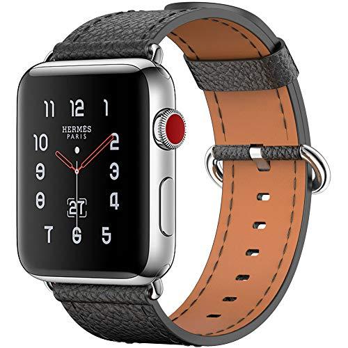Fnova Apple Watch Armband 38mm Uhrenarmband, Ersatz Apple Watch Lederarmband mit Edelstahlschließe für iwatch Series 1 Series 2 Series 3, Schwarz