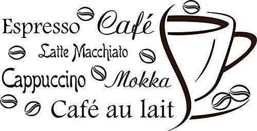 ttoo Wandaufkleber Tattoo Sprüche für Küche Espresso Café Cappuccino (78x40cm // 080 braun) (Rezept Für Cappuccino)