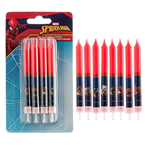 Lot-de-8-bougie-Spiderman-Marvel-Disney-Anniversaire-Dcoration-Gteau-612