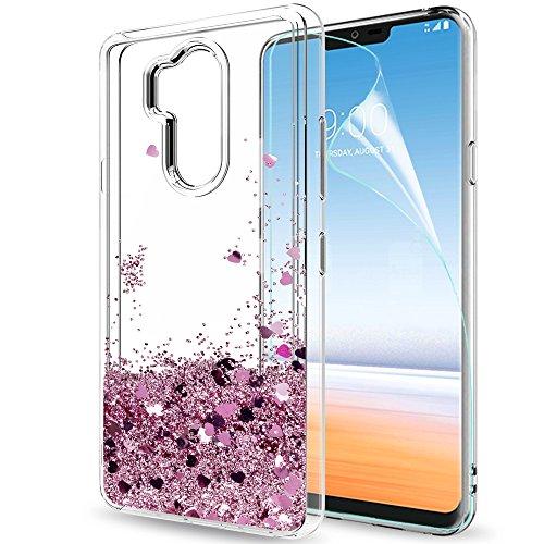 LeYi Hülle LG G7 / LG G7 ThinQ 2018 Glitzer Handyhülle mit HD Folie Schutzfolie,Cover TPU Bumper Silikon Flüssigkeit Treibsand Clear Schutzhülle für Case LG G7 Handy Hüllen ZX Rot Rosegold
