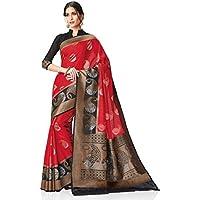 Meghdoot Women's Woven Kanchipuram Spun Silk Saree Red and Black Color Sari