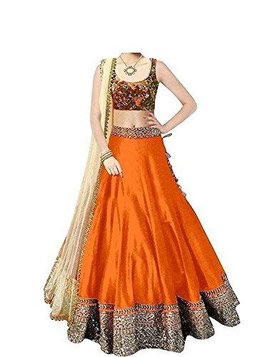 Vastra Fashion Women's Banglory Silk Dress Material (Orange_Free Size)