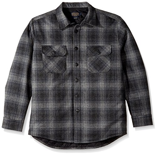 Pendleton Herren Quilted CPO In Wool Shirt Jacket Wollmantel, Charcoal Grey Plaid-31962, Klein Plaid Wool Shirt Jacket