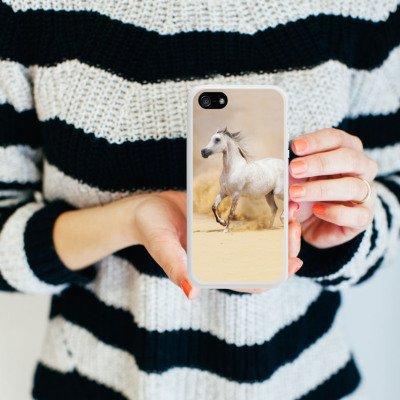 Apple iPhone 5s Housse Étui Protection Coque Cheval Désert Cheval Housse en silicone blanc