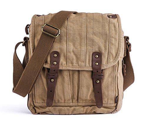 Gootium Vintage Canvas Classic Umhängetasche Messenger Bag/Schultertasche Herren, 25cm, Khaki - Classic Messenger Bag