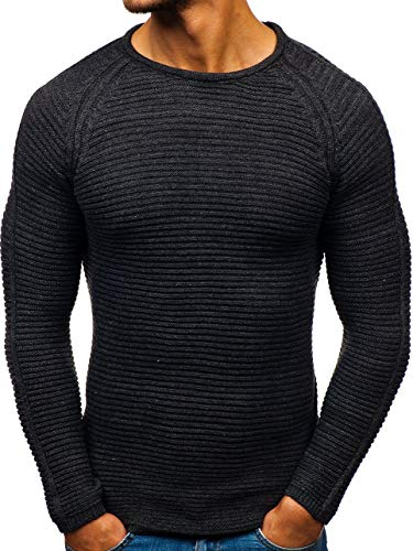 BOLF Herren Pullover Strickjacke Strickpullover Oberbekleidung Casual Style OXCID 153 Anthrazit S [5E5] | 05902646951706