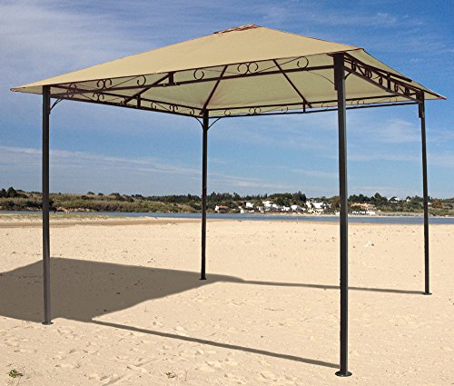 GRASEKAMP Qualität seit 1972 Gartenpavillon 3x3m Sand Antik Pavillon Partyzelt Gazebo
