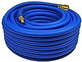 HELO 30 m Gewebe Druckluftschlauch 3-schichtig aus PVC mit Schnell-Kupplung (3/8 Zoll Anschluss), Gewebeschlauch Kompressorschlauch Ø Innen: 9 mm, Ø Außen: 14 mm, Arbeitsdruck: 20 bar
