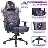 KILLABEE Gaming Stuhl Bürostuhl mit Verstellbarer integrierter Lendenwirbelstütze und Neigungswinkel Ergonomischer Computer Schreibtisch Drehstuhl aus Leder mit hoher Rückenlehne
