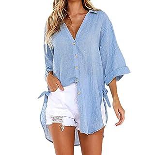 LSAltd Frauen Arbeiten Normallack-Bequeme Baumwolle Plus Größen-Lange Blusen-Oberseiten-Damen beiläufige V-Ansatz Lange Hülsen-Knopf-lose Hemd-Pullover um
