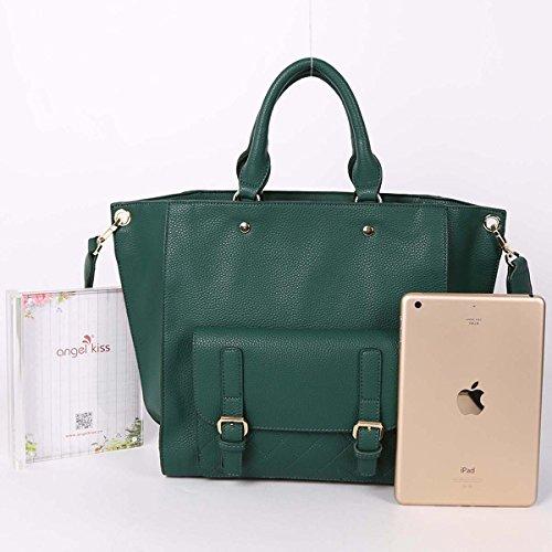 ZOCAI Borse a tracolla di cuoio delle donne borse multipli tasche mini M014 Verde