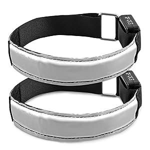kwmobile 2x Bracelet lumineux LED réfléchissant - ruban de sécurité pour le jogging sport vélo - ruban en blanc, piles incluses