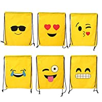 Mentin Emoji Drawstring Backpack Bags 12 Pack Cute Assorted Emoticon Party Favors