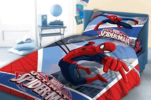 Spiderman Bettwäsche 100% Baumwolle Bettbezug 140x 200cm + Kissenbezug Bettwäsche wendbar (Avenger Handtuch-set)