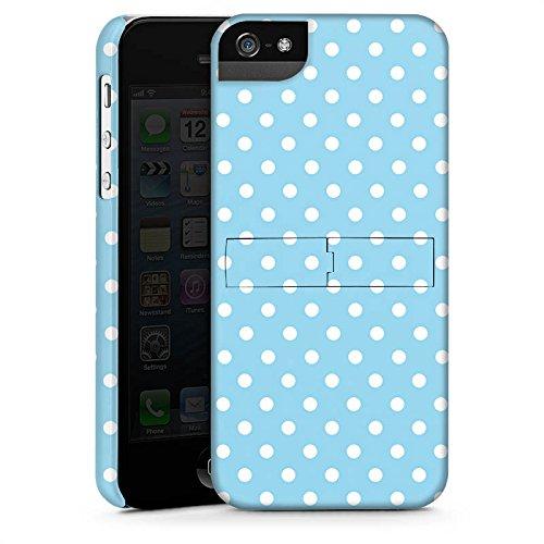 Apple iPhone 5 Housse Étui Protection Coque Points Motif bleu blanc Polka CasStandup blanc