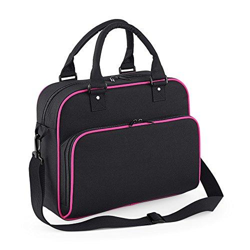 Junior Dance Bag Schultertasche Tragetasche Freizeittasche Fitnesstasche Girlybag Mädchensporttasche mit Namen und Wunschmotiv (Classic Pink / Lighht Grey) Black / Fuchsia