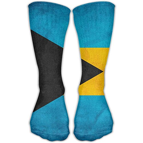 (Nicegift Retro Bahamian Flag Knee High Socks For Mens Womens Adult Cotton Cozy Long Socks For Yoga Hiking Cycling Running Soccer Sports 19.68 Inches)