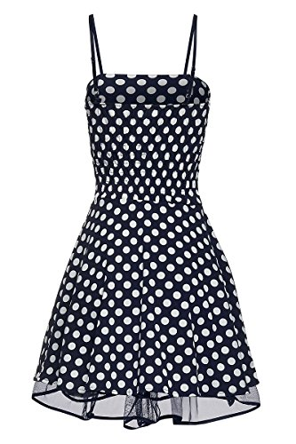 Laeticia Dreams Damen Kleid Petticoat Rockabilly S M L XL Blau/Weiß Punkte Medium