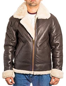 Para hombre de Brown aviador B3 piel de oveja chaqueta de piloto WW2 del vuelo con la crema de piel