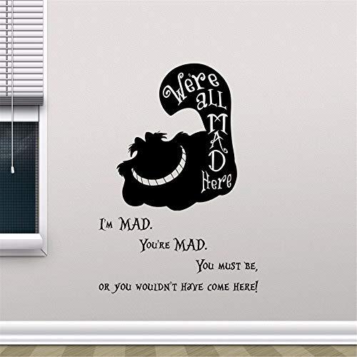 guijiumai Cheshire Cat Smile In Wonderland Zitat Vinyl Wandaufkleber Cartoon Wandkunst Kinderzimmer Schlafzimmer Dekor Wandbild Tapeten rot 58x79 cm -