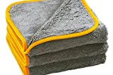 Glart 443TPO Premium Flausch 3er Set Mikrofasertücher, ultraweich für perfekte Lackpflege, Anthrazit mit oranger Kante, 40 x 40 cm