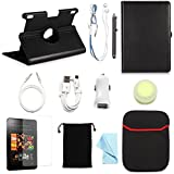 "BUNDLE OFFER ARION Kindle 11-Item Accessory CASE Bundle Kit for New Amazon Kindle Fire HDX 8.9"" Tablet - 360 Rotating Stand PU Leather Case, Screen Protector, Cleaning Cloth, Stylus Pen, Car Charger, Micro USB Sync Cable, Aux Cable, Earphone, Wire-holding Box, Sleeve Case, Drawstring Travel Pouch (Black, Leather case will only fit Kindle Fire HDX 8.9"" 2013 release)"